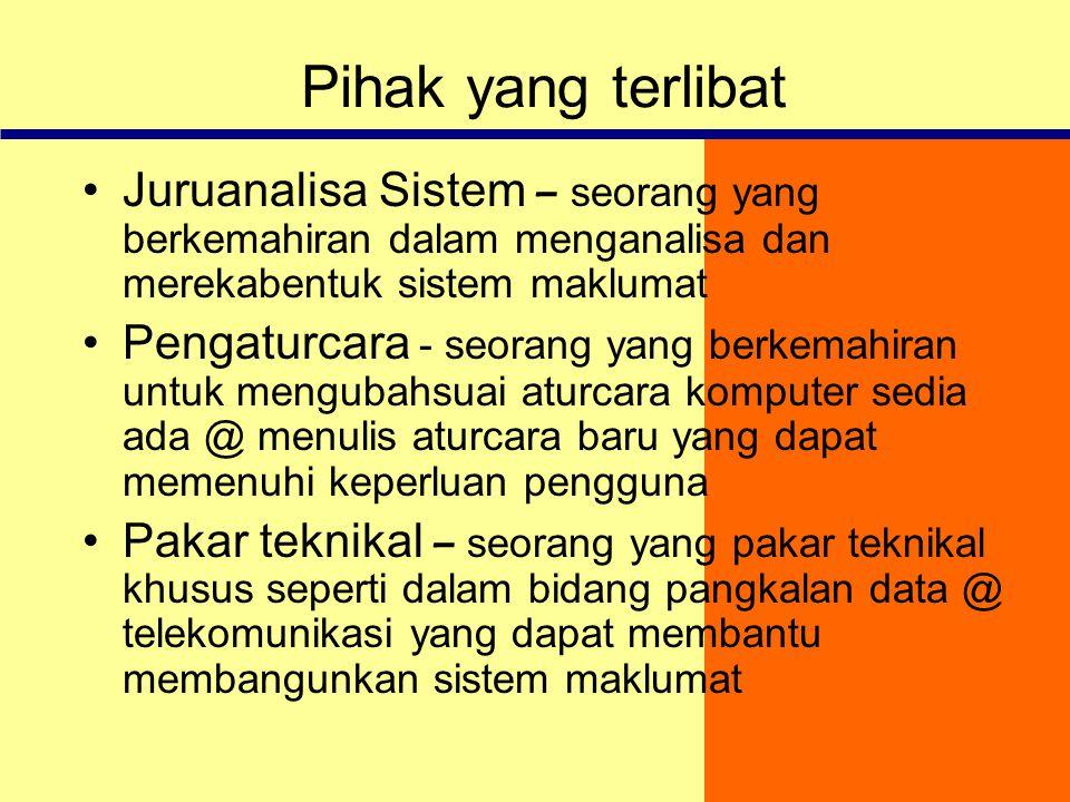 Pihak yang terlibat Juruanalisa Sistem – seorang yang berkemahiran dalam menganalisa dan merekabentuk sistem maklumat.