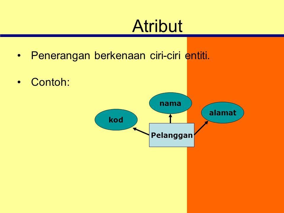 Atribut Penerangan berkenaan ciri-ciri entiti. Contoh: nama alamat kod