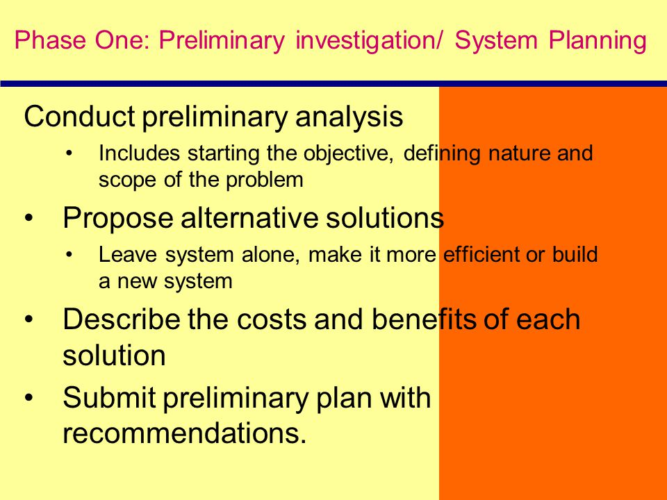 Conduct preliminary analysis