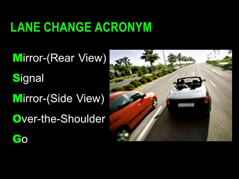 Lane Change Acronym Mirror-(Rear View) Signal Mirror-(Side View)