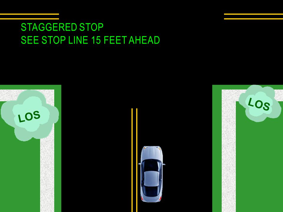 Staggered Stop See Stop Line 15 feet ahead