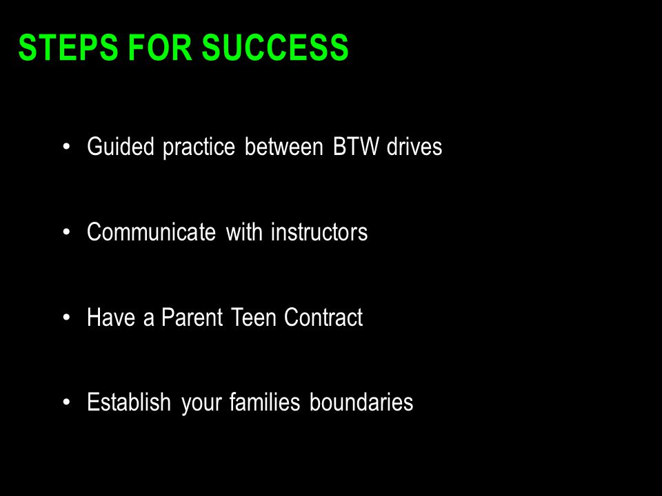 STEPS FOR SUCCESS Guided practice between BTW drives