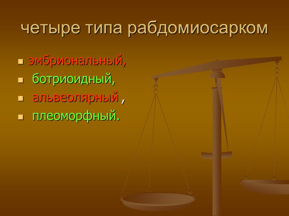 четыре типа рабдомиосарком