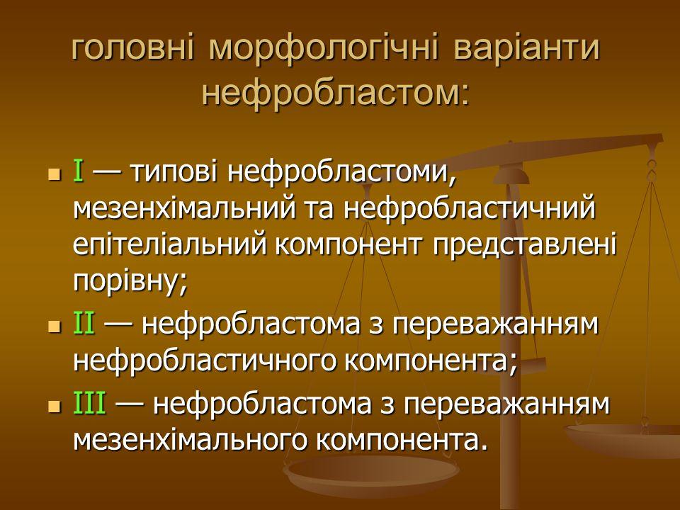 головні морфологічні варіанти нефробластом: