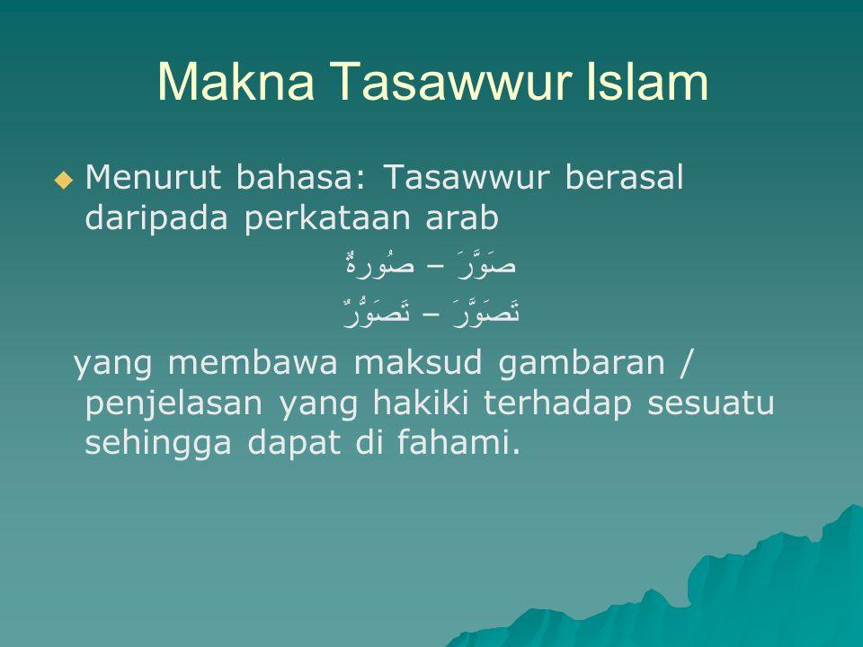 Makna Tasawwur Islam Menurut bahasa: Tasawwur berasal daripada perkataan arab. صَوَّرَ – صُورةٌ تَصَوَّرَ – تَصَوُّرٌ