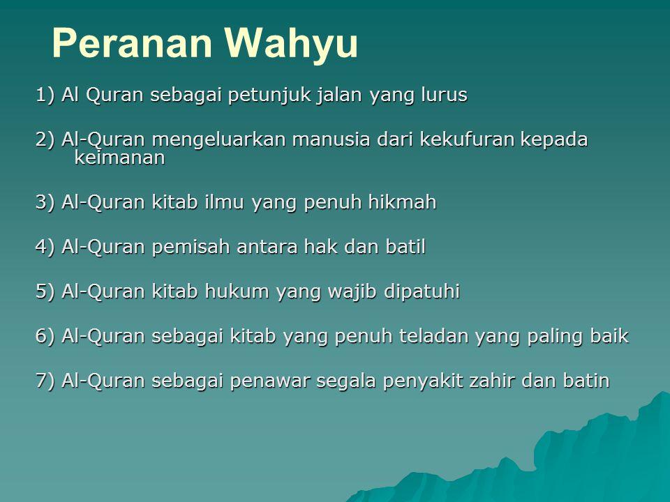 Peranan Wahyu 1) Al Quran sebagai petunjuk jalan yang lurus