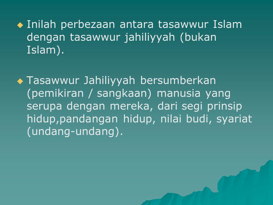 Inilah perbezaan antara tasawwur Islam dengan tasawwur jahiliyyah (bukan Islam).