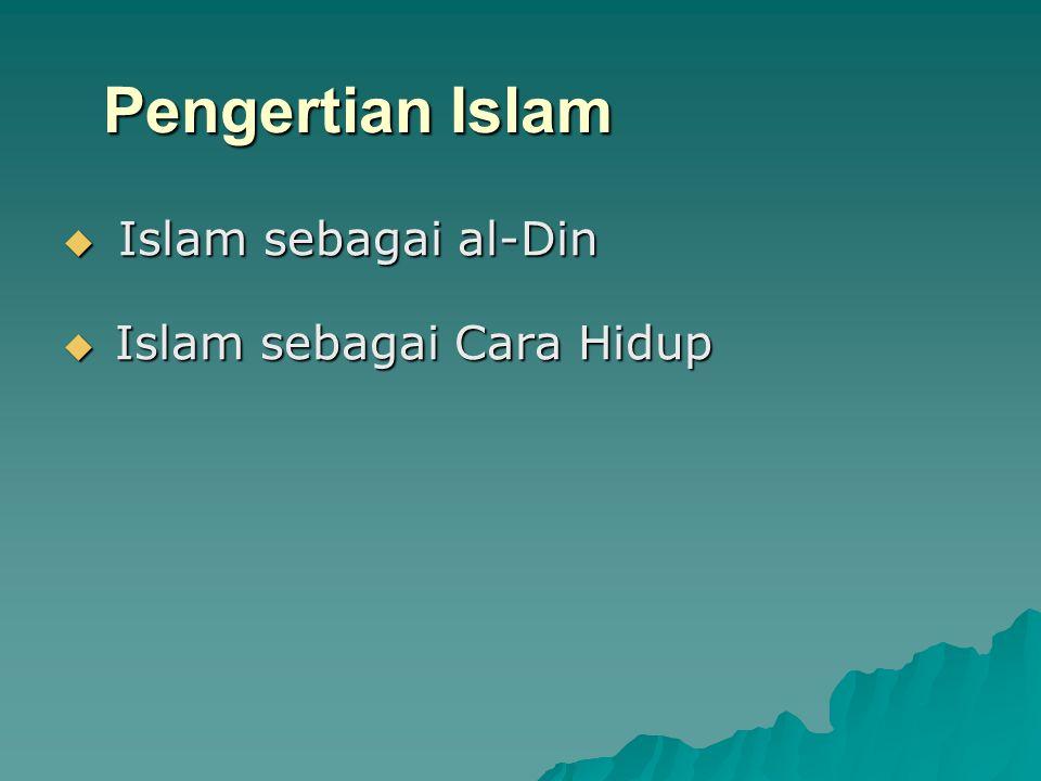 Pengertian Islam Islam sebagai al-Din Islam sebagai Cara Hidup