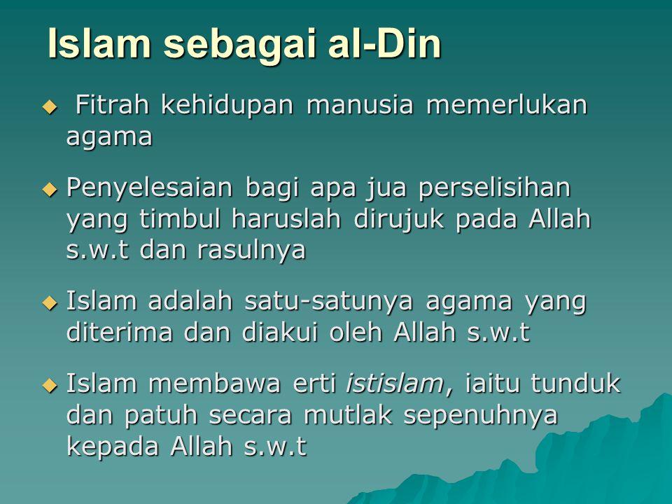 Islam sebagai al-Din Fitrah kehidupan manusia memerlukan agama