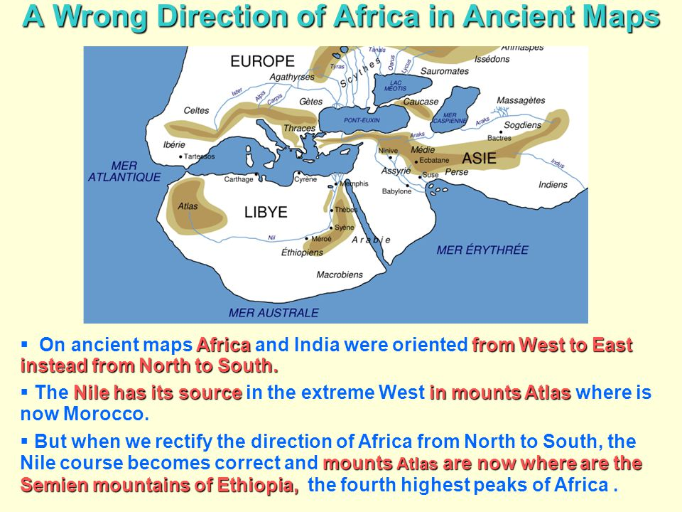 A Wrong Direction of Africa in Ancient Maps