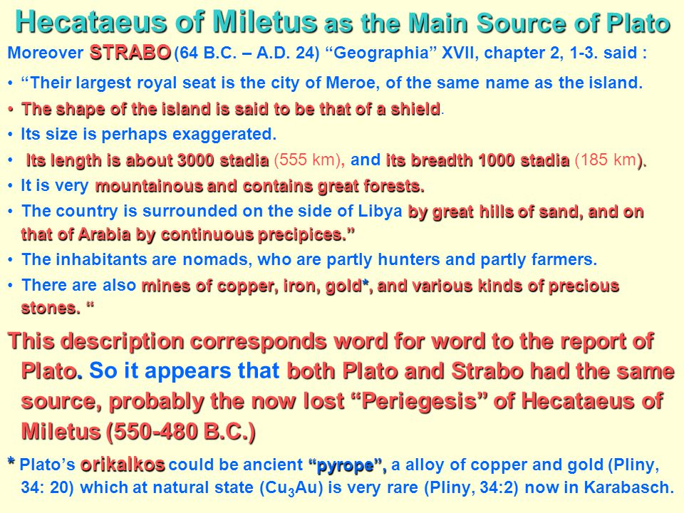 Hecataeus of Miletus as the Main Source of Plato