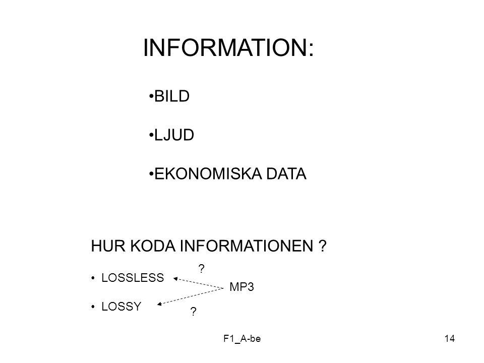 INFORMATION: BILD LJUD EKONOMISKA DATA HUR KODA INFORMATIONEN
