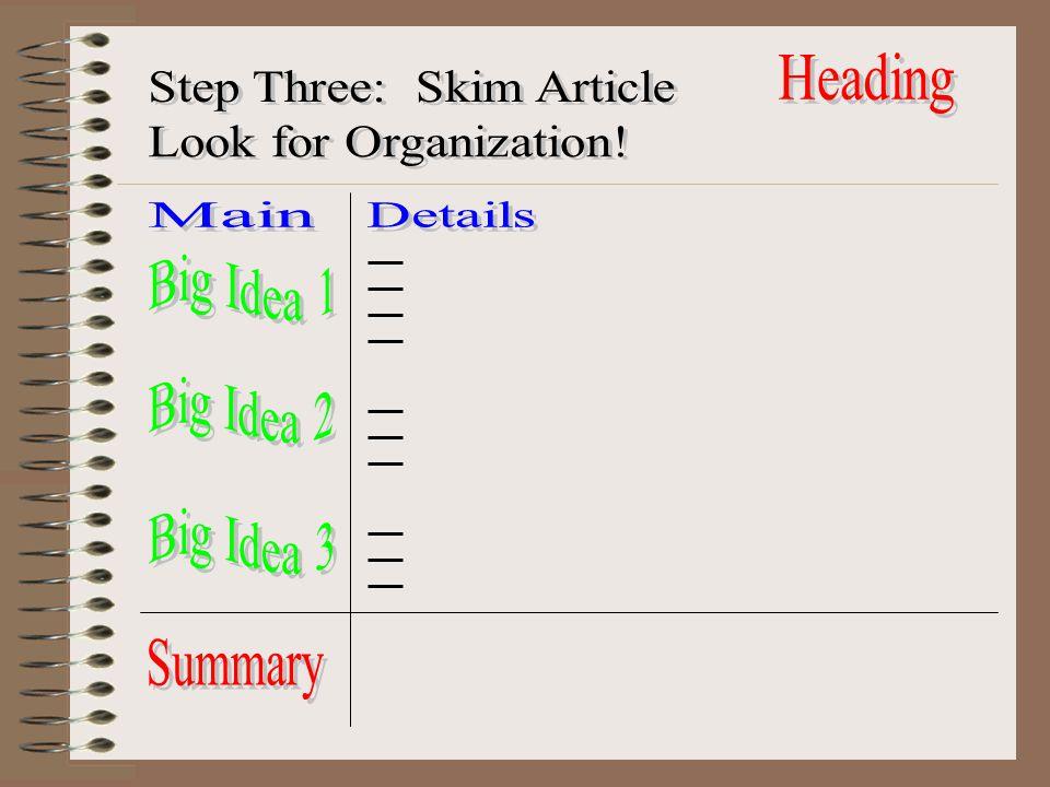 Heading Step Three: Skim Article. Look for Organization! Main. Details. Big Idea 1. Big Idea 2.