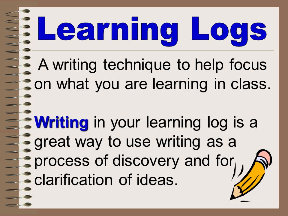on what you are learning in class. Writing in your learning log is a
