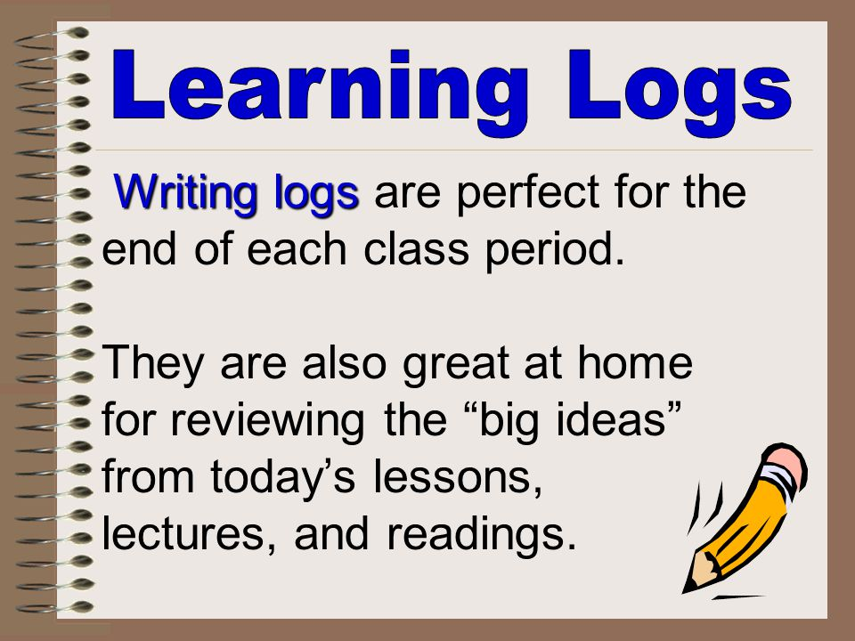 Learning Logs Writing logs are perfect for the end of each class period.