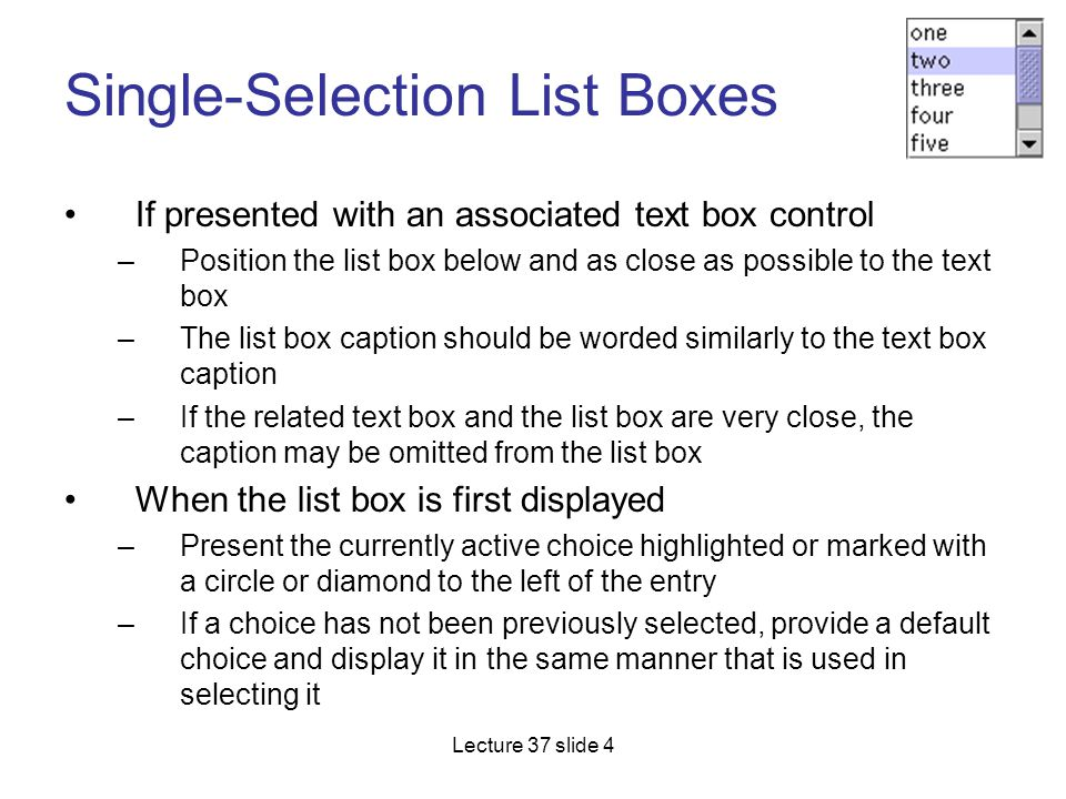 Single-Selection List Boxes
