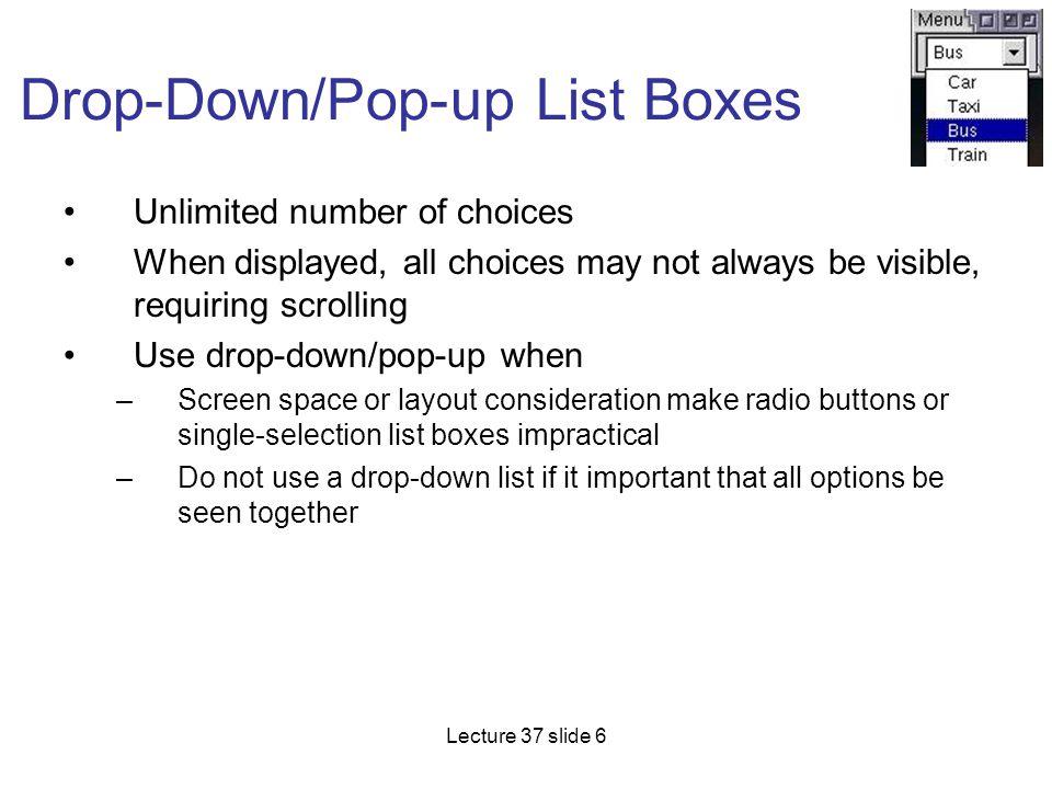 Drop-Down/Pop-up List Boxes