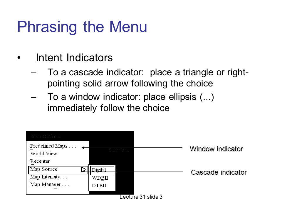 Phrasing the Menu Intent Indicators