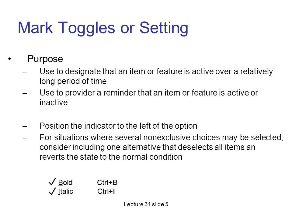 Mark Toggles or Setting