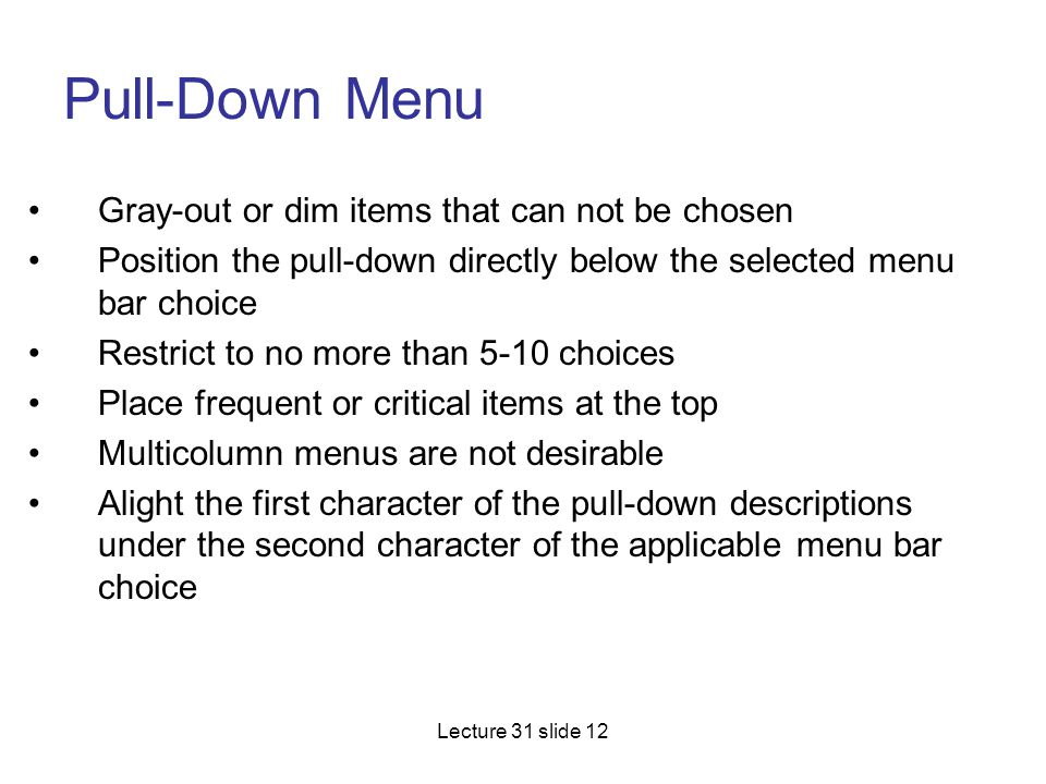 Pull-Down Menu Gray-out or dim items that can not be chosen