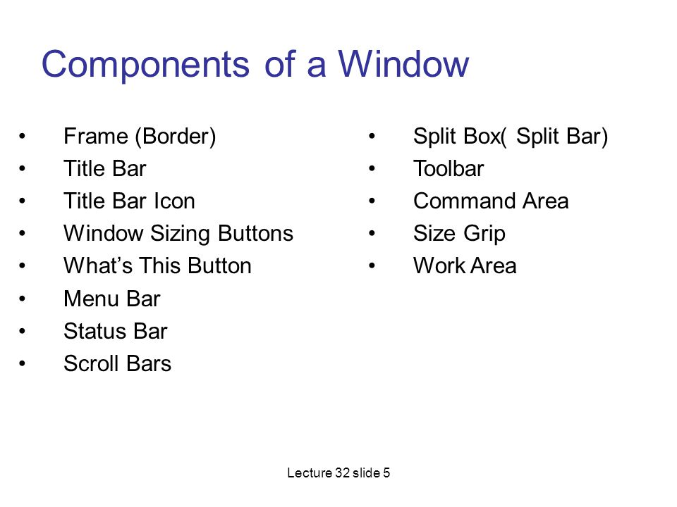 Components of a Window Frame (Border) Title Bar Title Bar Icon