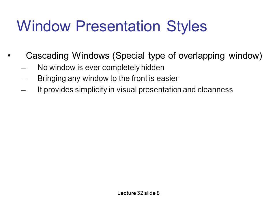Window Presentation Styles