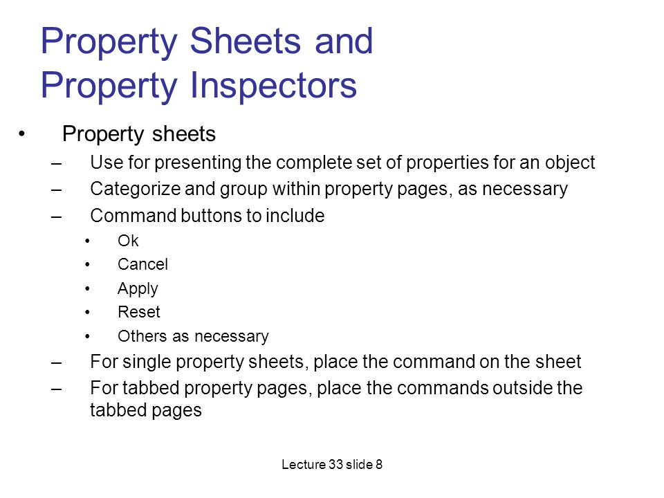 Property Sheets and Property Inspectors