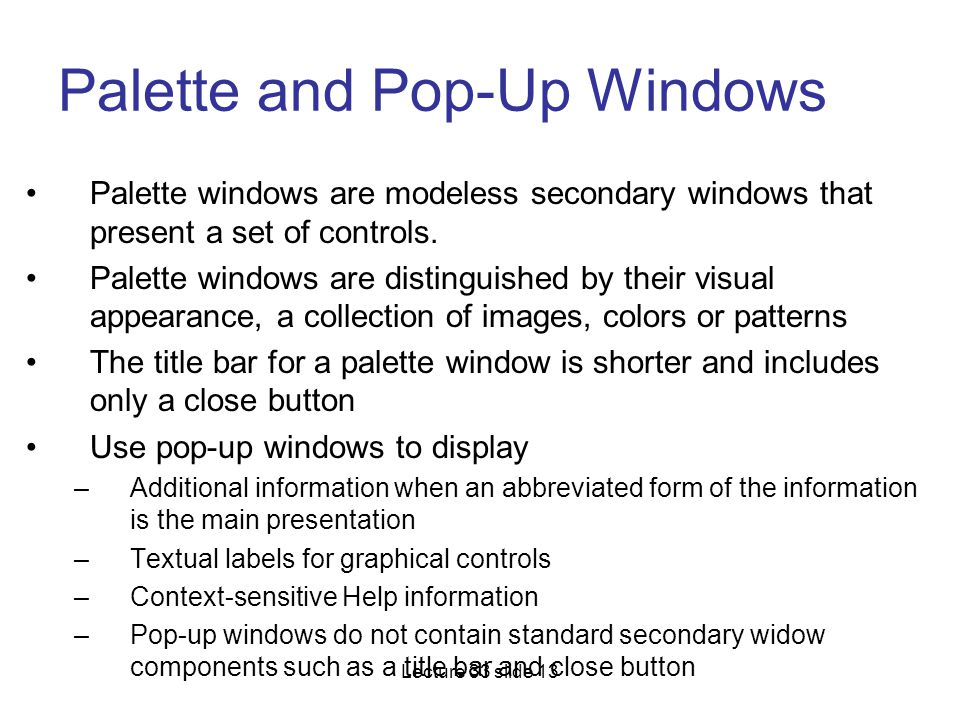 Palette and Pop-Up Windows