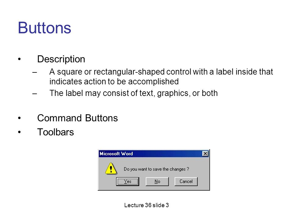 Buttons Description Command Buttons Toolbars