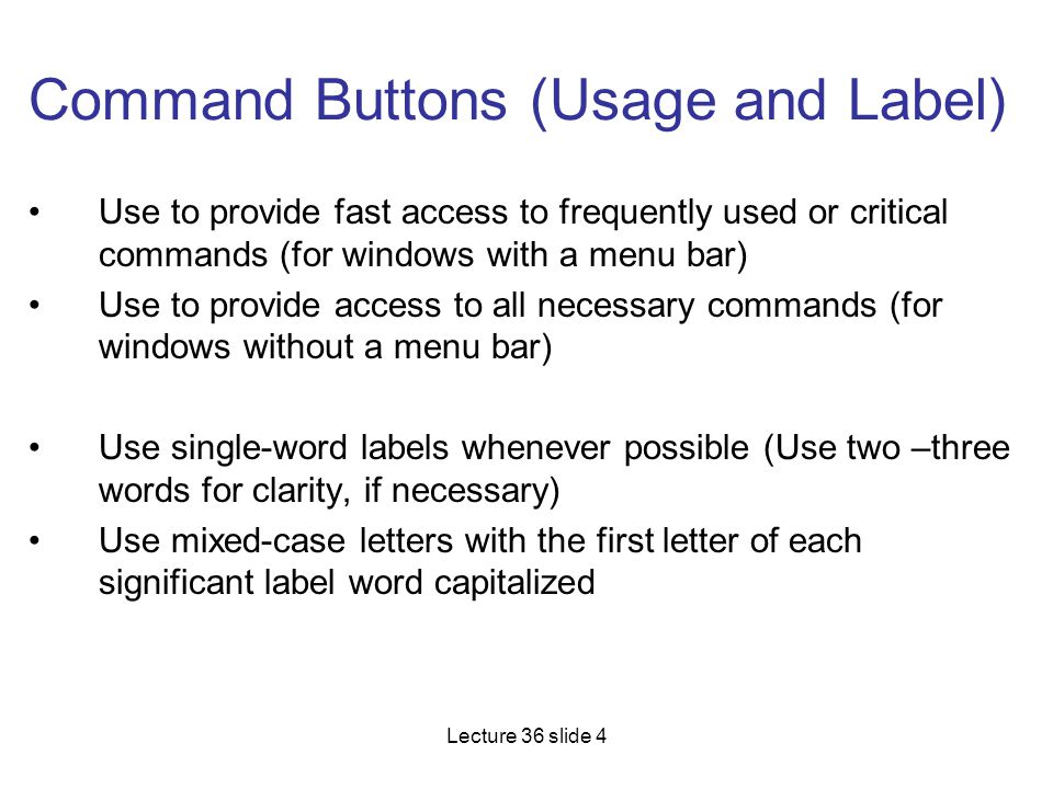 Command Buttons (Usage and Label)