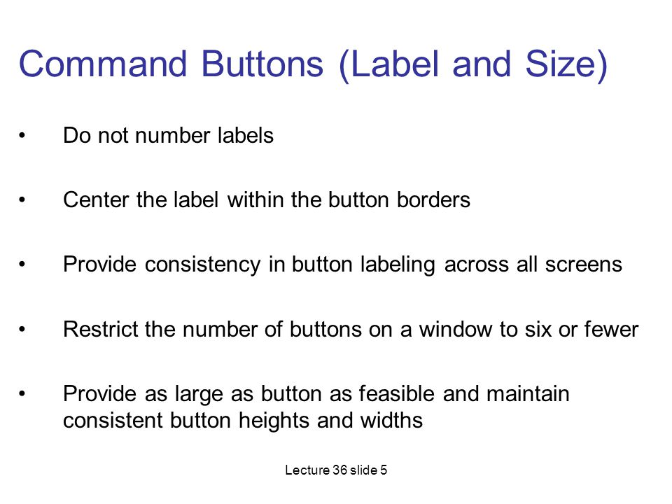 Command Buttons (Label and Size)
