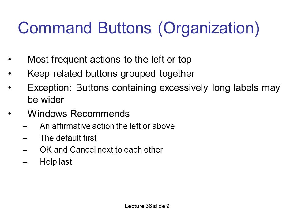 Command Buttons (Organization)