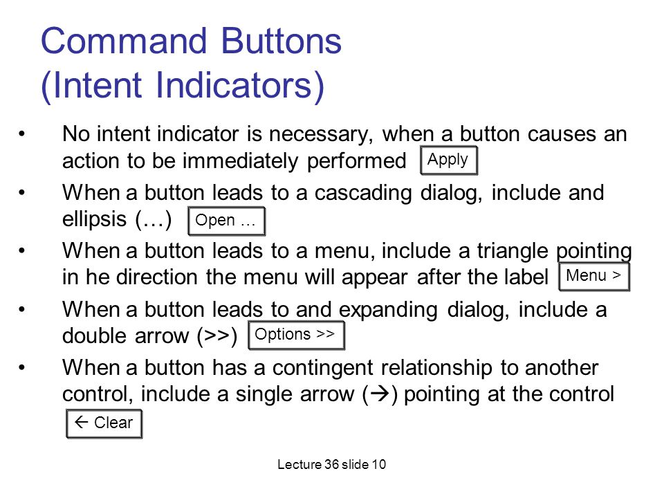Command Buttons (Intent Indicators)