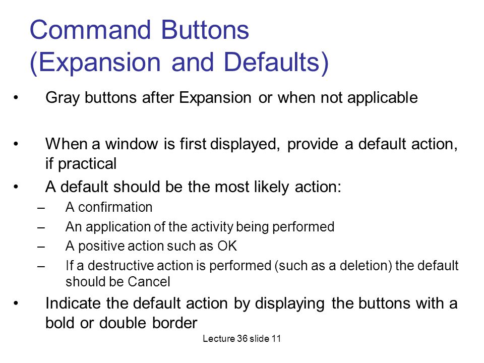 Command Buttons (Expansion and Defaults)