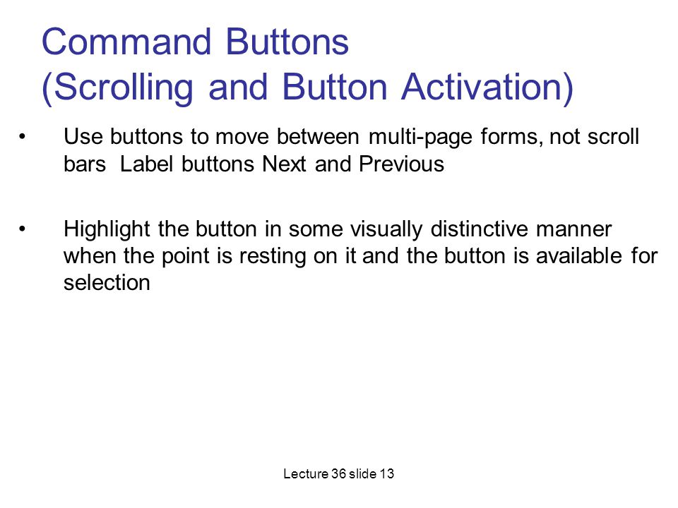 Command Buttons (Scrolling and Button Activation)