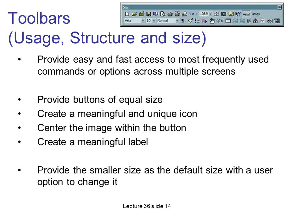 Toolbars (Usage, Structure and size)