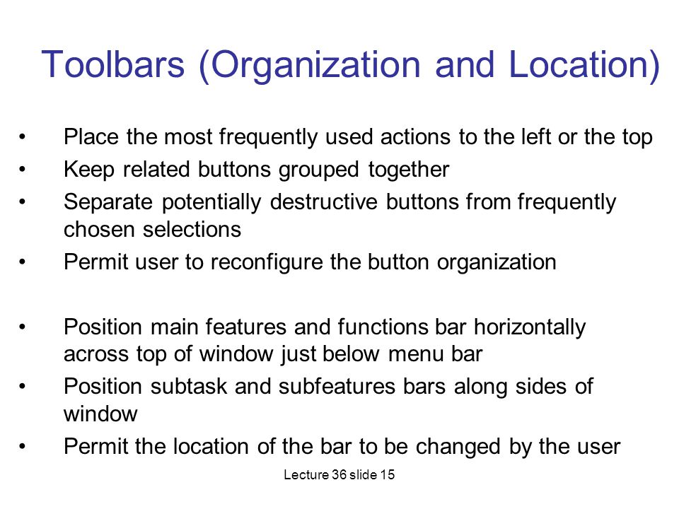 Toolbars (Organization and Location)