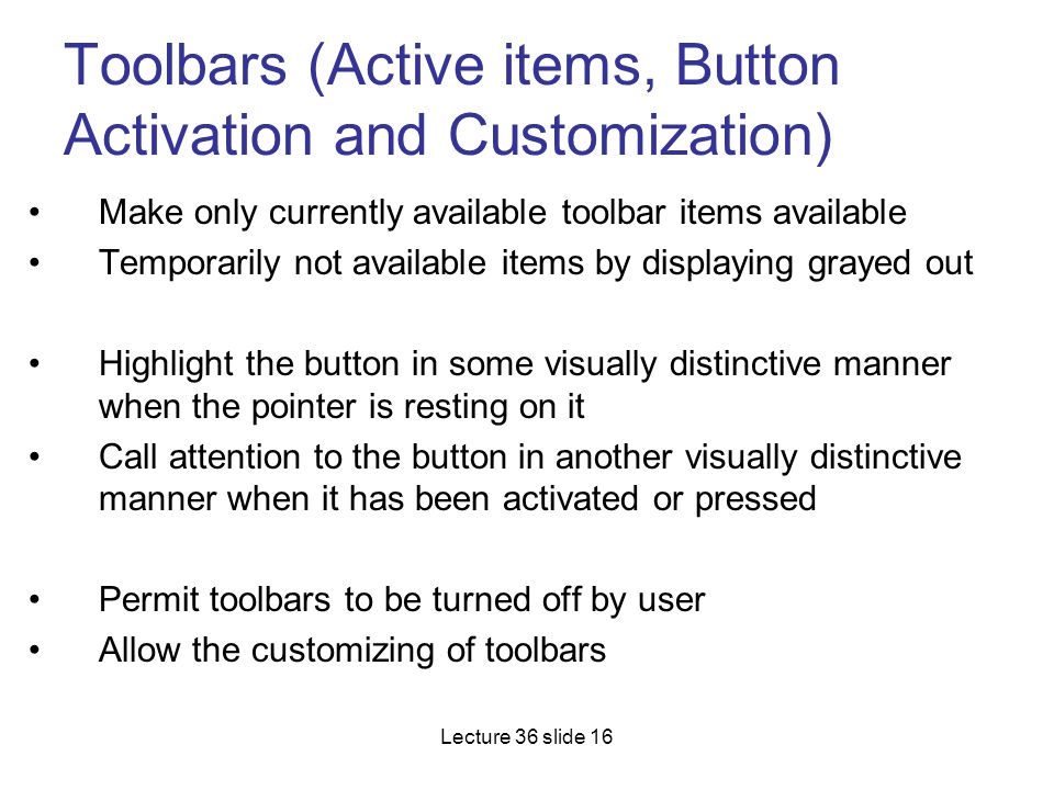 Toolbars (Active items, Button Activation and Customization)
