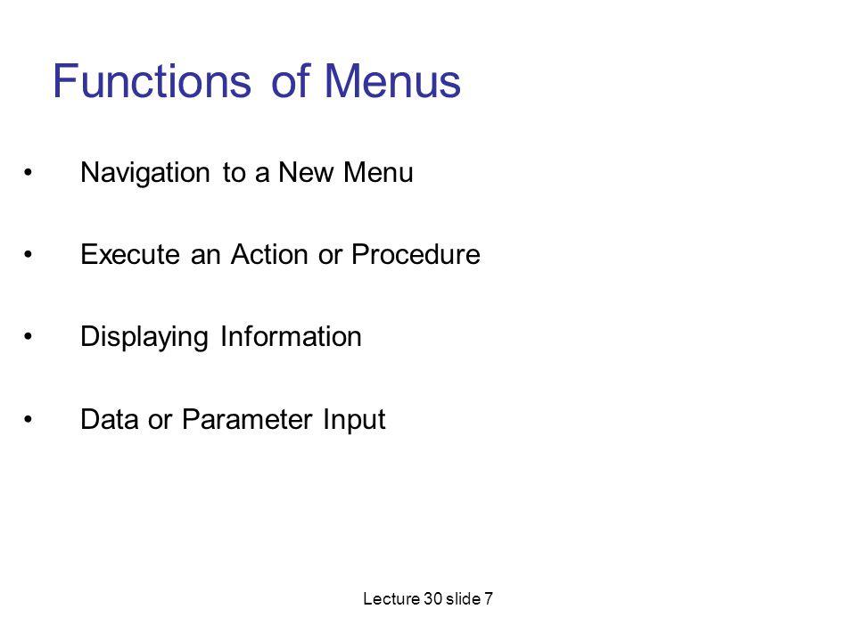 Functions of Menus Navigation to a New Menu