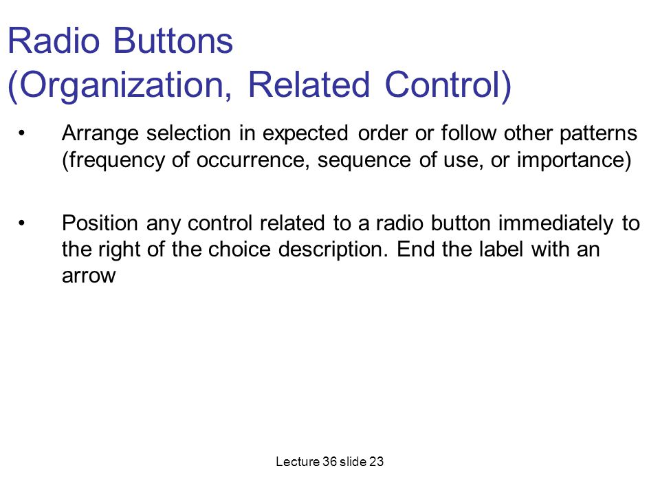 Radio Buttons (Organization, Related Control)