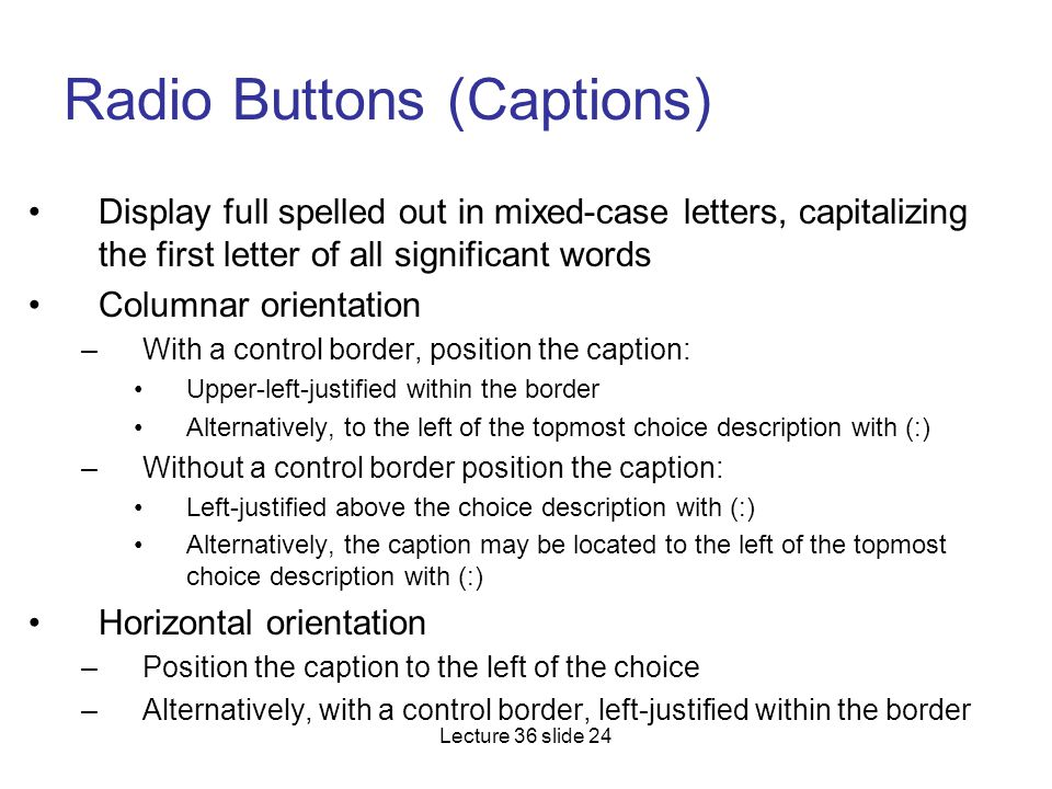 Radio Buttons (Captions)