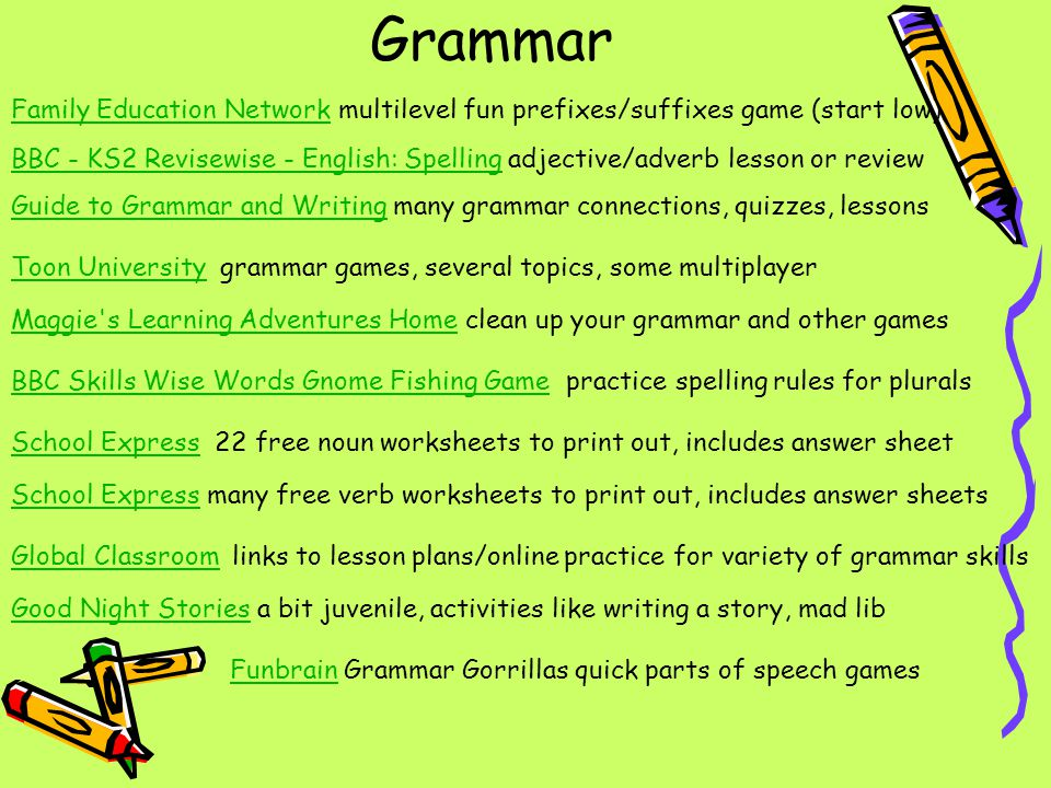 Grammar Family Education Network multilevel fun prefixes/suffixes game (start low)