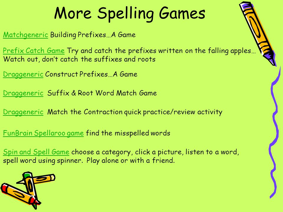 More Spelling Games Matchgeneric Building Prefixes…A Game