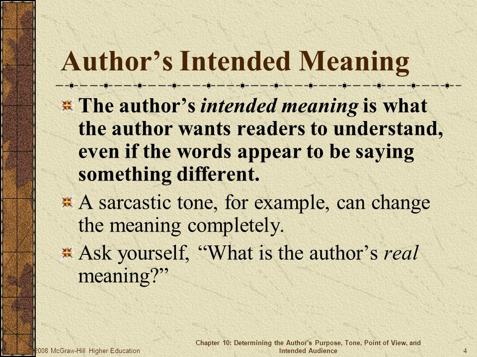 Author's Intended Meaning