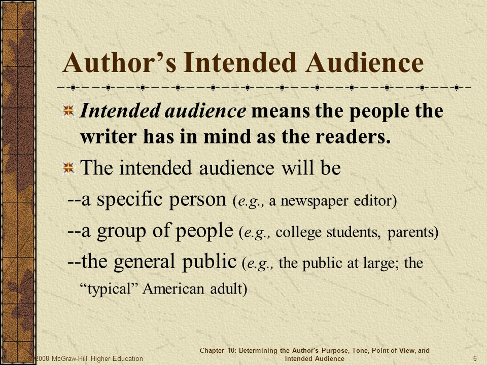 Author's Intended Audience