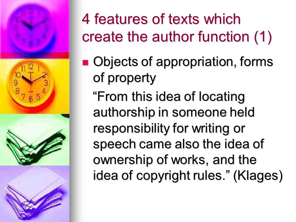 4 features of texts which create the author function (1)