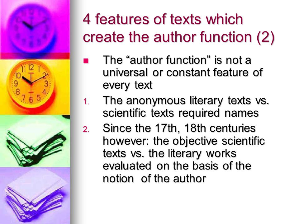 4 features of texts which create the author function (2)