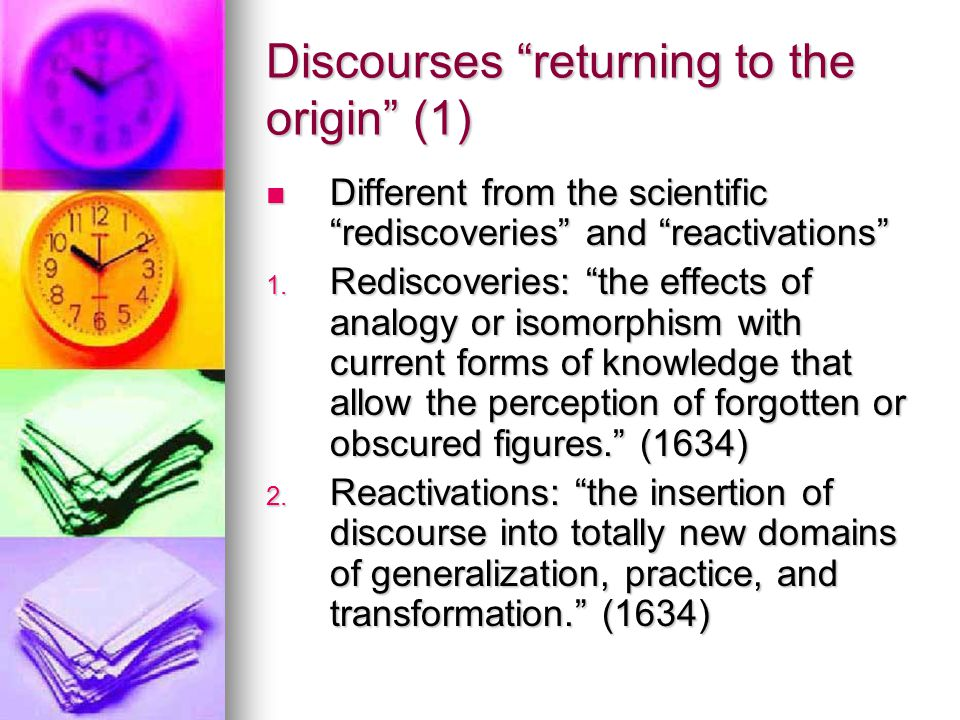 Discourses returning to the origin (1)