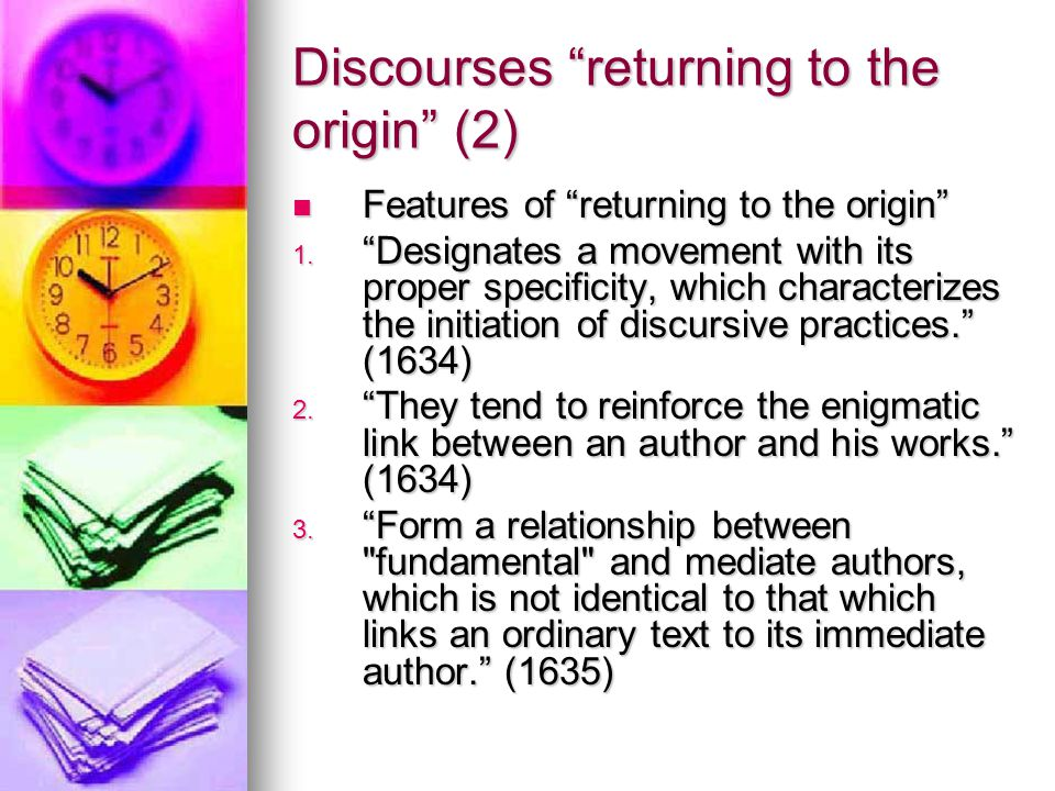 Discourses returning to the origin (2)