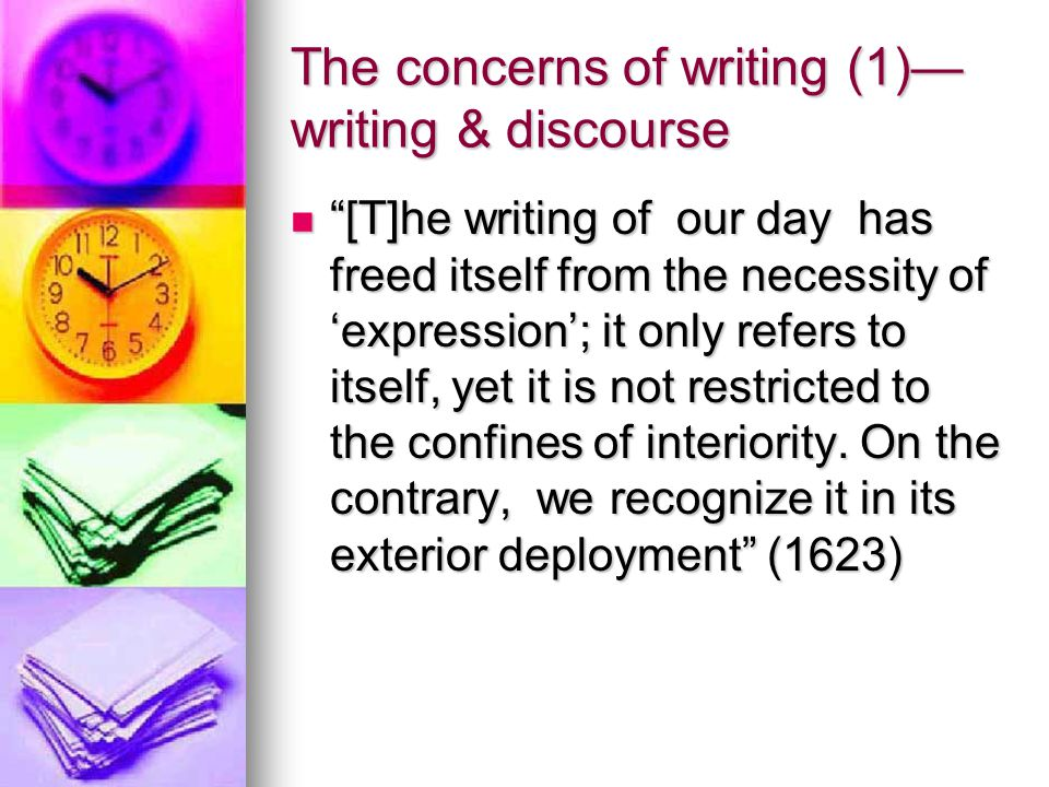 The concerns of writing (1)—writing & discourse